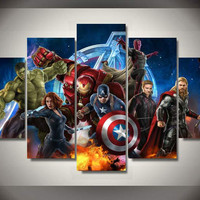 Framed Printed Avengers Animation 5 piece picture Painting wall art room decor print poster picture canvas Free shipping