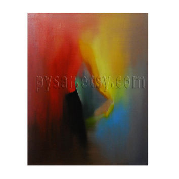 Abstract Ballet Art  Red Ballerina Painting Oil Canvas by PysarArt