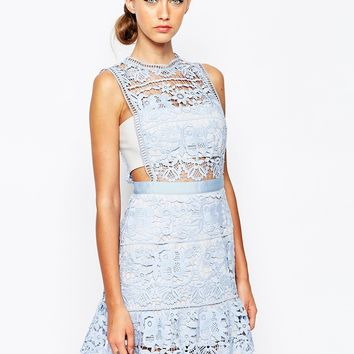 Self Portrait Heavy Lace Peplum Dress With Sheer Panels