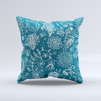 Blue & White Floral Sketched Lace Patterns v21 Ink-Fuzed Decorative Throw Pillow