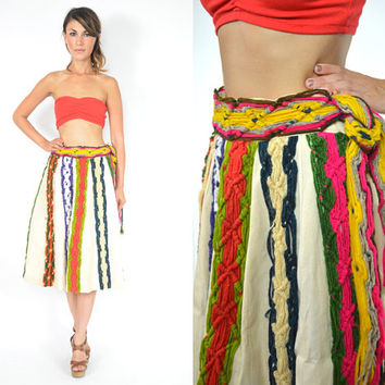 rare multi-colored TEXTURED yarn HIGH WAISTED ethnic mexican skirt, extra small-small