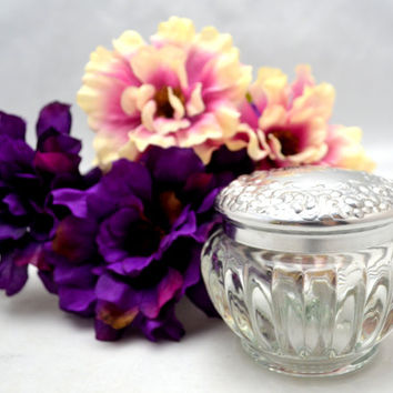 Vintage Houbigant Jar, Glass Dresser or Vanity Jar with Metal Lid, 1950s-1960s