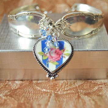 Rose in Blue Silver Spoon Bracelet with  Crystals and Broken China Jewelry Charm in Sterling Setting in Gift Box