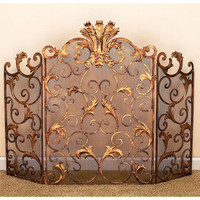 Dr. Livingstone I Presume DLFS106MSHGLD Antique Gold Acanthus Leaf Accent Fireplace Screen