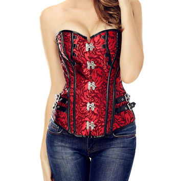 Hot Sexy Red Gothic Steam Punk Corsets Top Basque Boned Lace-up Waist Bustiers Shaper Plus Size HS105
