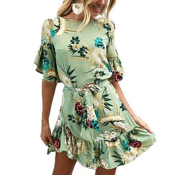 Women Floral Print Summer Dress Casual O Neck Sashes A Line Elegant Dresses Female 2018 Fashion Mini Dress Dropshipping