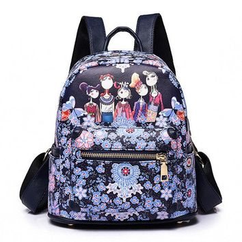 Women Bohemian Forest Series Floral Print Backpack 2 Size