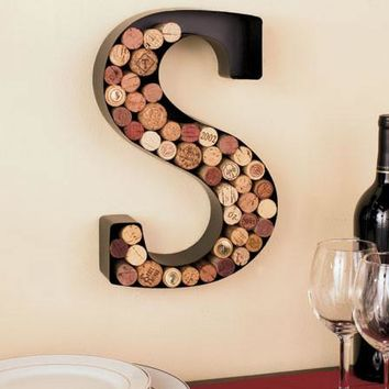 Metal Monogram Initial Letter Shaped Cork Holder Wall Art Personalized