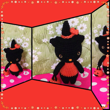 Halloween Amigurumi Cat Crochet Cat Amigurumi Witch Crochet Doll  Stuffed Animal Crochet Black Cat Kids Toy Halloween Gift Idea