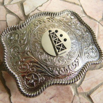 Oilfield Oil Rig Belt Buckle, Oil Derrick Silver Western Belt Buckle,Roughneck, Roughneck Wife,Spoiled Oilfield Wife Mens Womens Belt Buckle