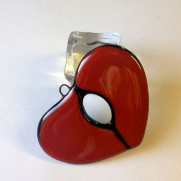 Broken Hole in Heart  Ornament Fused Glass Wounded Heart One of A kind  283