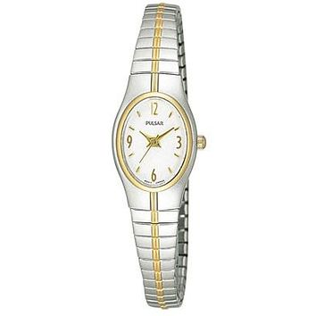 Pulsar Ladies Watch - Stainless & Gold-Tone - White Face - Stretch Band