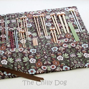 Roll Up Knitting Needle Case: Brown Floral