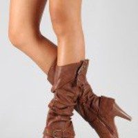 Bamboo Valencia-01 Buckle Slouchy Knee High Boot