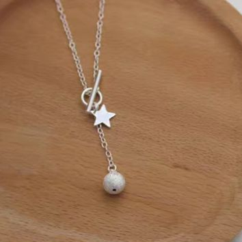 Fashion Sterling Silver Jewelry Silver 925 Star Grinding ball Pendant Chain FemaleD2769-0414