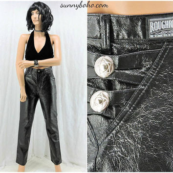 80s sexy high waisted black jeans / pleather jeans / 28 x 31 /  size 5 / 6  jeans / roughrider high waist faux leather jeans