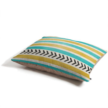Allyson Johnson Green And Blue Stripes And Arrows Pet Bed