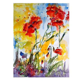 Red Poppies and Bees Provence Large Original Watercolor Painting