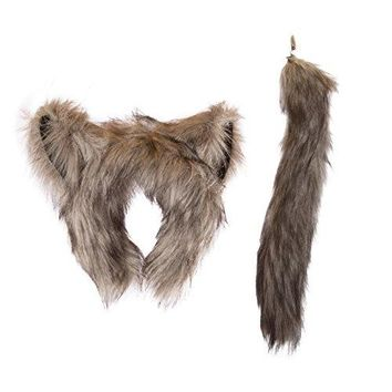 Wildlife Tree Kids Size Plush Wolf Ears Headband and Tail Set Wolf Costume, Cosplay, Pretend Animal Play or Forest Animal Costumes