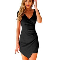 Women Slim Fitted Bodycon Mini Dress Wrap Dress Evening Party Mini Dress Sexy Vestidos