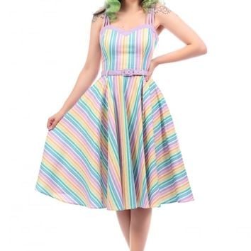 COLLECTIF MAINLINE NOVA RAINBOW STRIPES SWING DRESS
