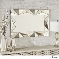 Margie Geometrical Rectangular Silver Finished Wall Mirror