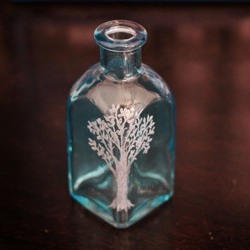 Tree of Life, Engraved Glass, Small Square Blue Bottle, Hand Etched, Home Decor Jar by Hendywood