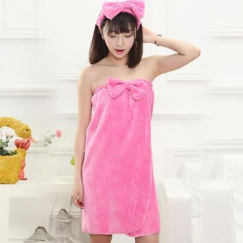 Autumn and winter flannel female bathrobe bath towel wrapped chest sweet lady nightgown sexy nightgown send headband