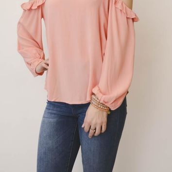 Cold-Shoulder Ruffle Top - Coral