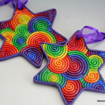 Star of David Ornament in Rainbow Polymer Clay Filigree (Violet Border)