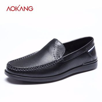 Summer men shoes leather genuine fashion shoes men air-permeable hollow casual dress shoes high quality shoes