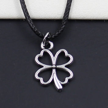 Lucky Irish Four Leaf Clover Pendant And Black Faux Leather Cord Necklace