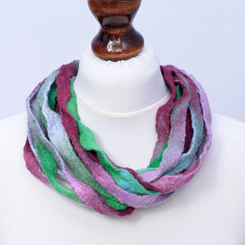 Twisted fiber necklace with multistrand design in pink & green - multi strand, twist, ribbon necklace [N93]