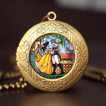 beauty and the beast vintage pendant locket necklace