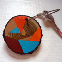 ORANGE SLICE--wood keychain, wooden keychain, geometric keychain, handpainted keychain, tree branch art,tree branch keychain,custom keychain