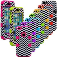 myLife Bright Lime Green + Black Chevron 3 Layer (Hybrid Flex Gel) Grip Case for New Apple iPhone 5C Touch Phone (External 2 Piece Full Body Defender Armor Rubberized Shell + Internal Gel Fit Silicone Flex Protector)