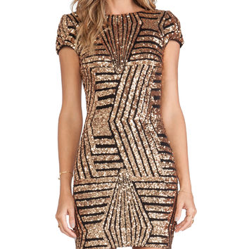 DRESS THE POPULATION Tabitha Dress in Metallic Gold