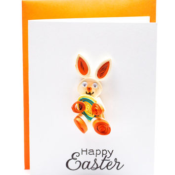 Easter Card Set- Blank - Quilled Bunny - Handmade Greeting - Paper Quilling - Set of 3