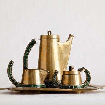 Mid Century Modern Salvador Tea Set - Brass & Mosaic Tile - DOMESTIC SHIPPING INCLUDED