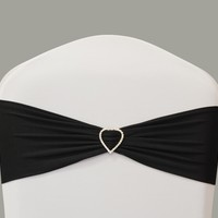 Spandex band with Rhinestone Heart - Black - Spandex band with Rhinestone Heart - Spandex Band - Sashes - Wholesale Wedding Chair Covers