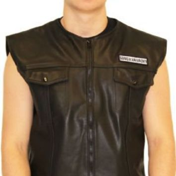 SOA Sons of Anarchy Black Leather Highway Biker Vest - Sons of Anarchy - | TV Store Online