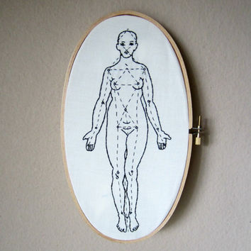 Human anatomy hand embroidery art in large oval hoop, woman