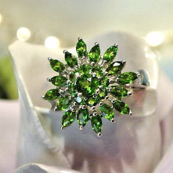 Russian Chrome Diopside Ring Siberian Emerald 2ctw Cocktail Cluster Sterling Silver Estate Statement Jewelry Size 8 Prong Green Gemstones