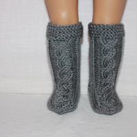 hand knit socks, grey knee high cable socks, 18 inch doll clothes, american girl, maplelea