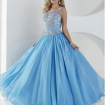 [129.99] Bling Tulle & Organza Scoop Neckline A-Line Prom Dresses With Beads & Rhinestones - dressilyme.com