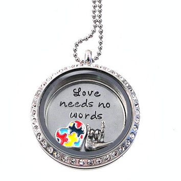 Autism Awareness Living Locket / Floating Locket / Hand Stamped Jewelry