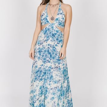 Blue Rose Cutout Maxi
