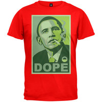 Obama Green Dope Poster Red Adult T-Shirt