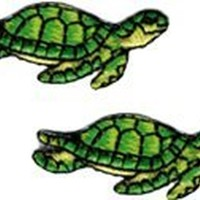 Turtle - Green SET OF TWO ! - Embroidered Sew or Iron on Patch