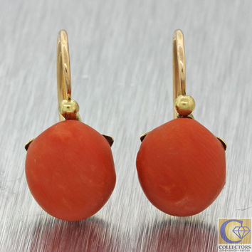 1880s Antique Victorian Estate 18k Solid Yellow Gold Red Coral Cabochon Earrings
